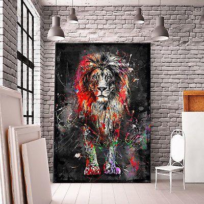 LEINWAND BILD XXL ABSTRAKT LÖWE LION NATUR DEKO WANDBILDER KUNSTDRUCK COLOUR #leinwandideen