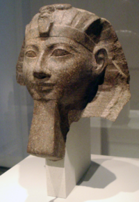Hatshepsut meaning Foremost of Noble Ladies; 1508–1458 BC was the fifth pharaoh of the Eighteenth dynasty of Ancient Egypt. / Picture: Hatschepsut  (Altes Museum Berlin)