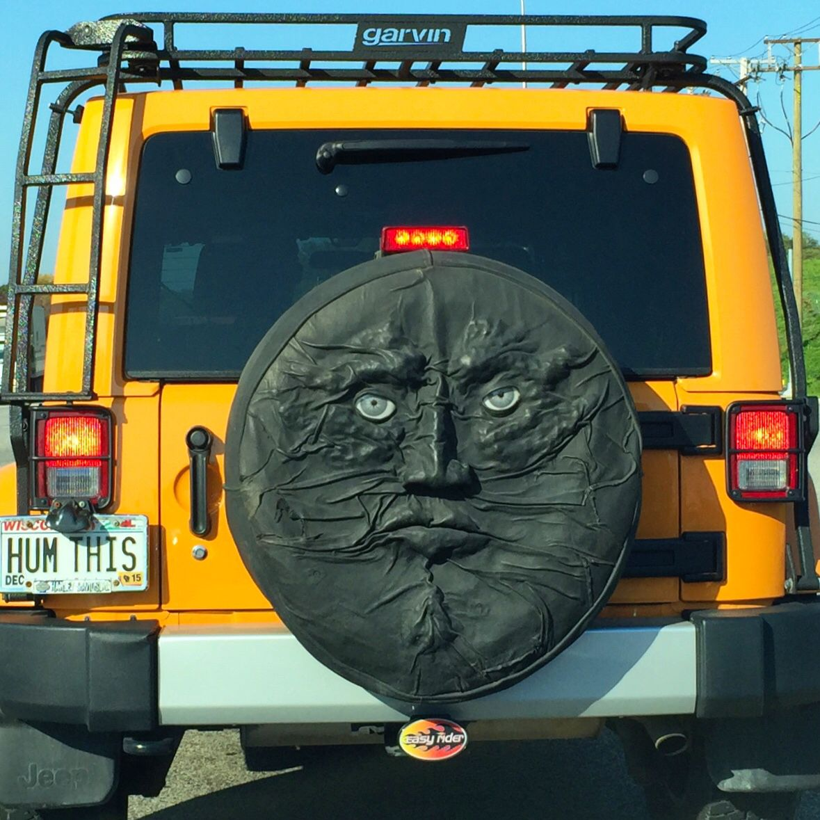 coolest jeep wrangler spare tire cover i 39 ve seen i should 39 ve asked the driver where they got. Black Bedroom Furniture Sets. Home Design Ideas