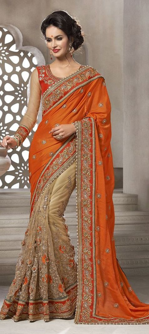 bf88bd1d45 179798: Orange, Beige and Brown color family Saree with matching unstitched  blouse.