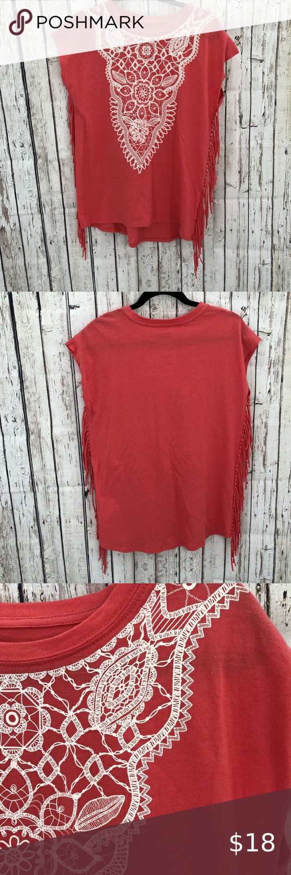 True Craft Coral fringe print sleeveless tank XL 100% cotton Coral color tee shirt tank top fringe on both sides and lace graphic print... sleeves size XL by True Craft  No flaws excellent condition  A#0023 True Craft Tops Tank Tops