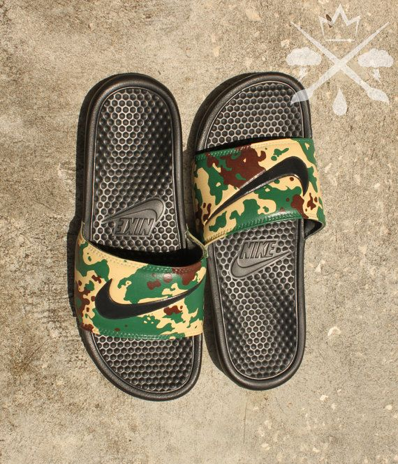 best cheap 32945 0f922 Nike Custom Military Camouflage Benassi Swoosh Camo Slide Sandals Flip  flops Men s