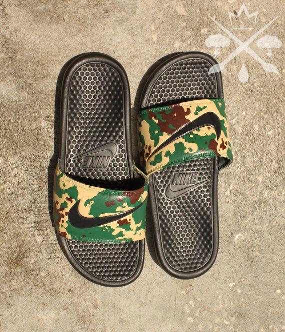244a4a965e69 Nike Custom Military Camouflage Benassi Swoosh Camo Slide Sandals Flip flops  Men s