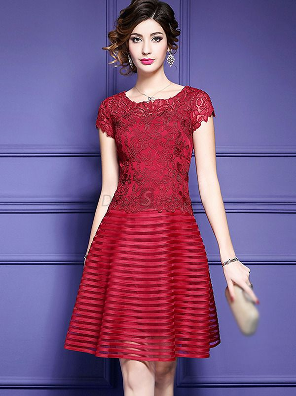 Buy Elegant O-Neck Short Sleeve Embroidery A-Line Dress with High ...