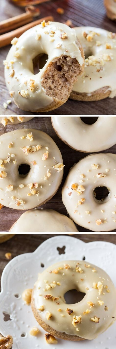 Delicious spice cake doughnuts dipped in sweet maple glaze and topped with crushed walnuts. It's like fall in maple doughnut form - and best of all, they're baked instead of fried!