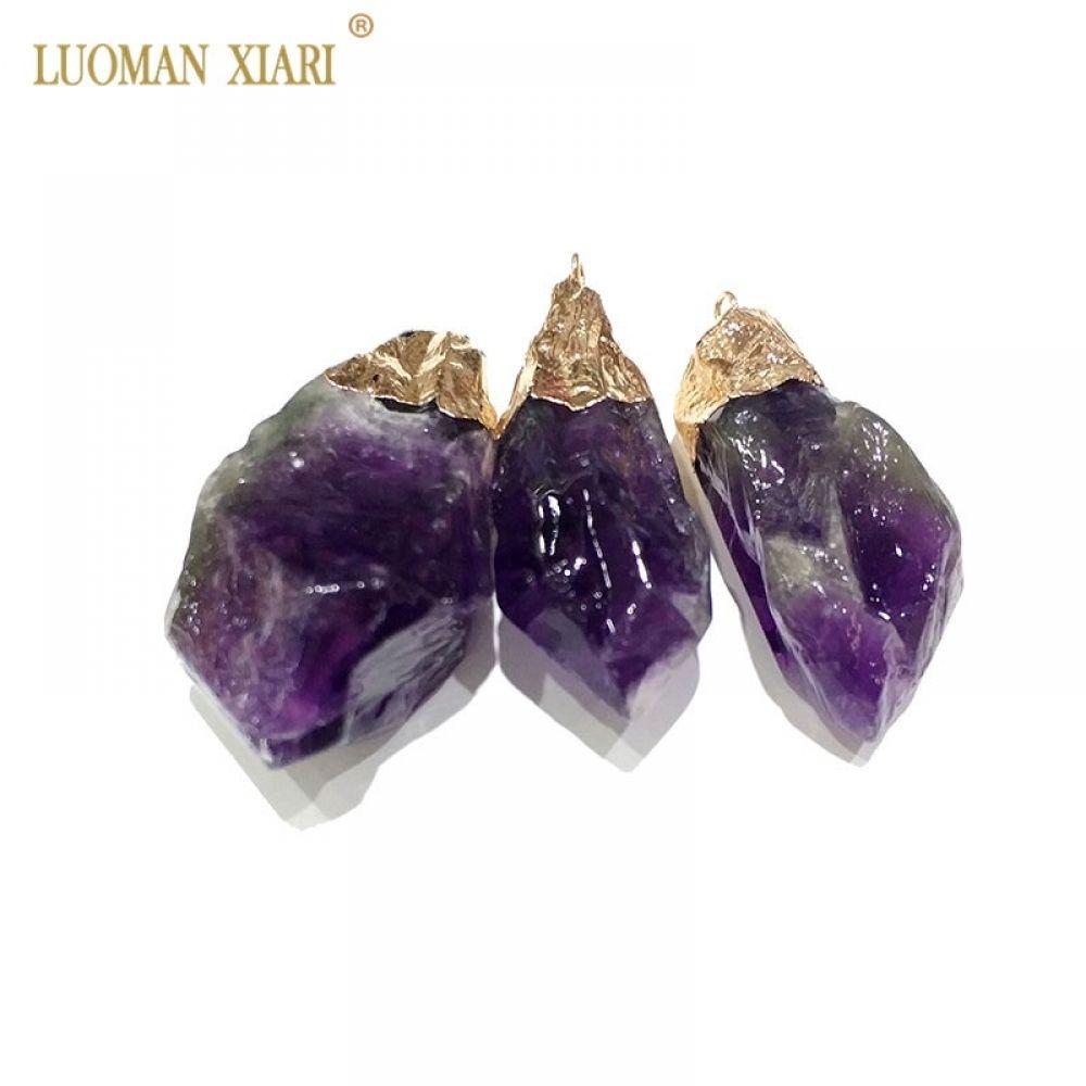 Natural Unique Amethysts Purple Crystal Gold | Pendants