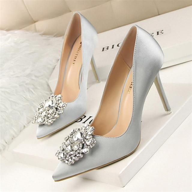 BIGTREE Silver Gray Black Women Bridal Wedding Shoes Faux Silk Satin  Rhinestone Crystal Shallow Woman Pumps Stiletto High Heel 435230186f37