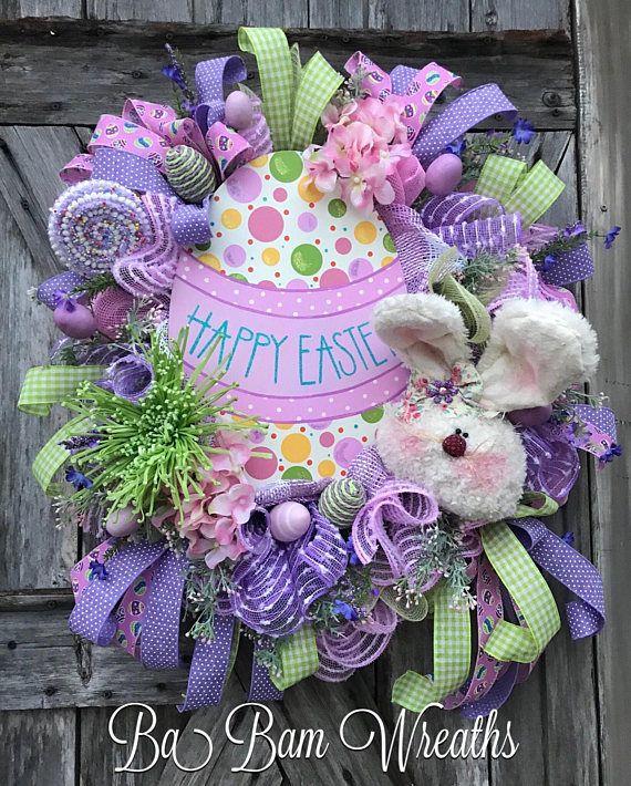Easter Wreath Spring Decor Door Mesh Swag Happy Dainty Florals Roses In Bloom