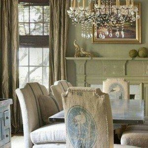 French Country Dining Room Ideas With Chandelier And Wooden Table Slipcovered Chairs Wall Art