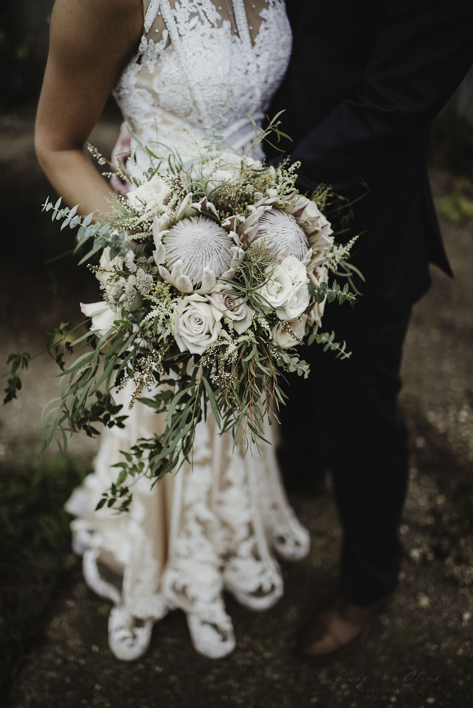 Twig Olive Photography Winter Protea Bouquet Wedding Bouquet