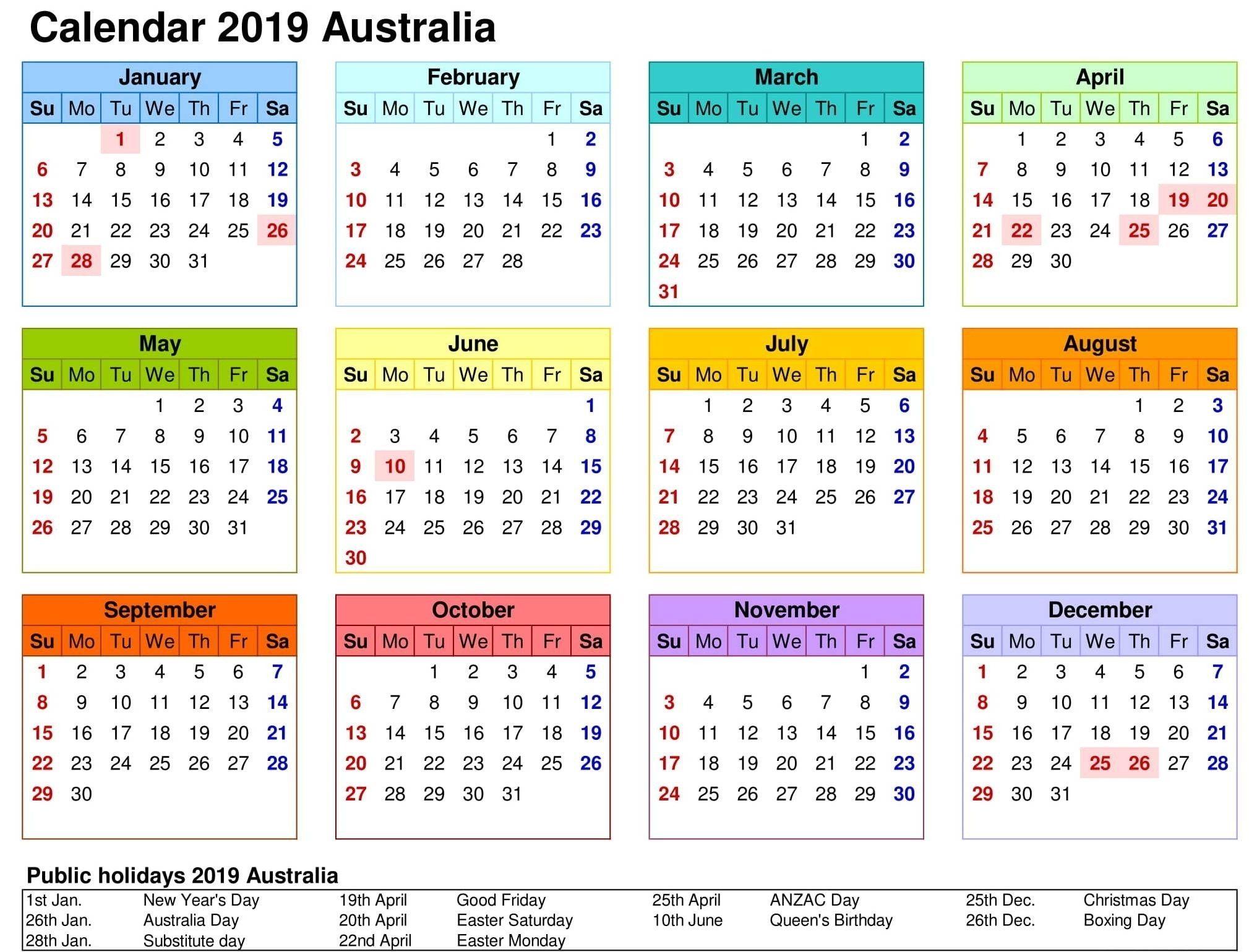 2019 Australia Calendar Template Free Printable 2018