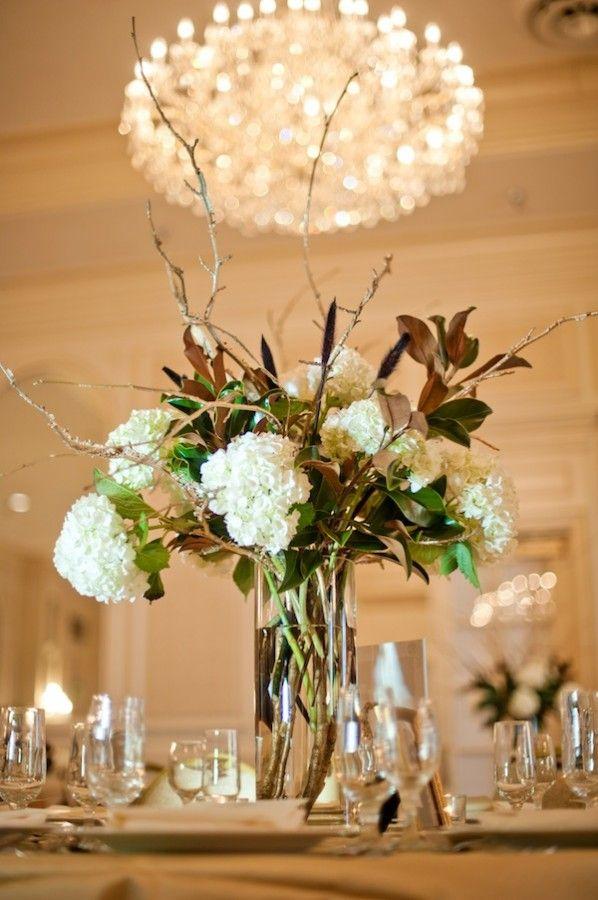 Greensboro Wedding At The Empire Room From Pasha Belman Magnolia Wedding Hydrangea Centerpiece Wedding Centerpieces