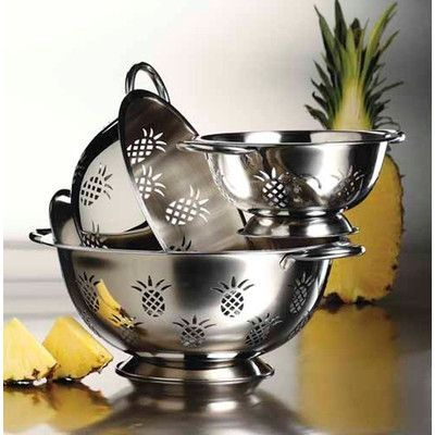 Imperial Home 3 Piece Stainless Steel Colander Set Pineapple Kitchen Decor Pineapple Kitchen Pineapple Design