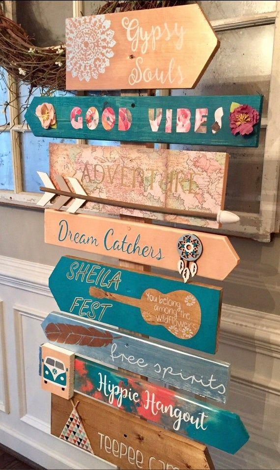 Custom Bohemian Coachella Hippie Directional Sign Boho images