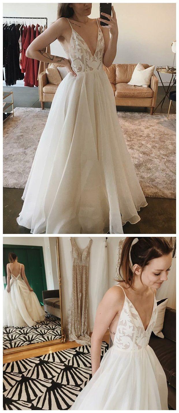 Spaghetti strap ivory chiffon beach wedding dresses lace applique