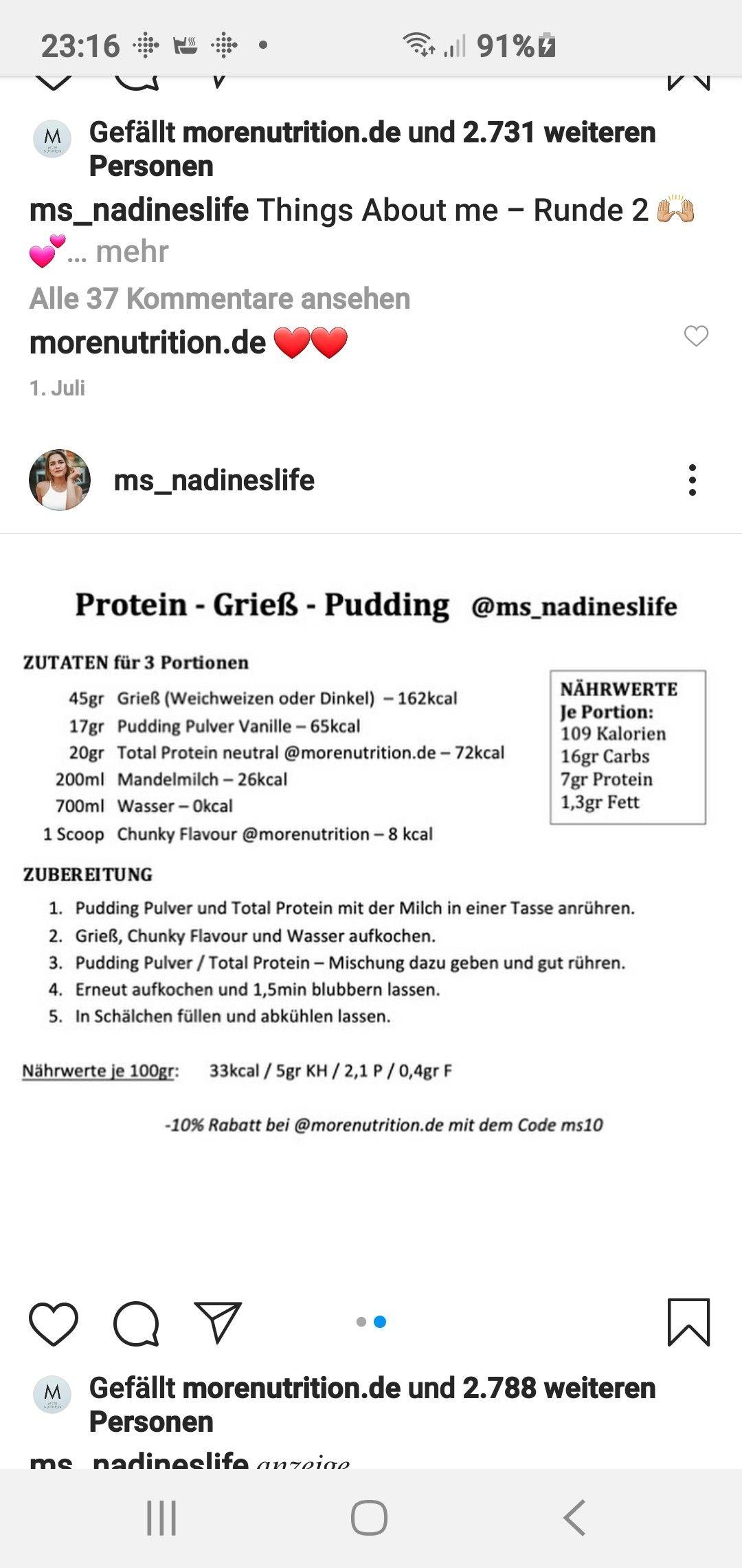 Pin Von Marion Schack Auf More Nutrion Zutaten Portionen Pudding