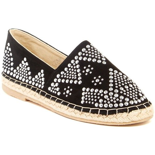 Bucco Manthie Slip-On Espadrille ($27) ❤ liked on Polyvore featuring shoes, sandals, black, slip on shoes, black espadrilles, bucco sandals, studded sandals and black slip-on shoes