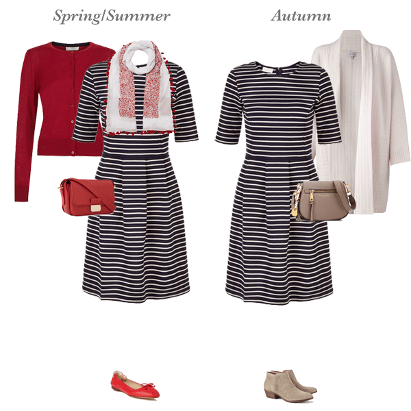 Seasonless capsule wardrobe, one dress 4 ways