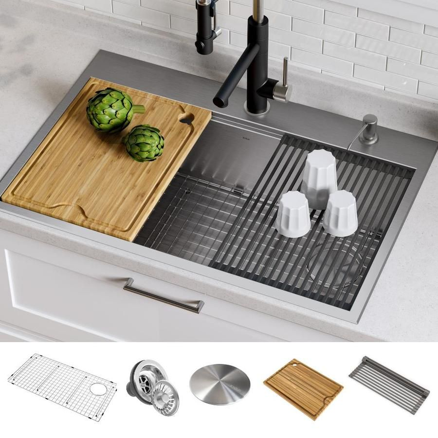 Kraus Kore 33 In X 22 In Stainless Steel Single Bowl Drop In Or Undermount 2 Hole Commercial Residential Workstation Kitchen Sink All In One Kit With Drainboard Drop In Kitchen Sink Stainless Steel Kitchen Sink Cast Iron