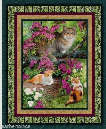 Fabric Cotton Panel Fancy Cat Design Square Cat with Fish Bowl