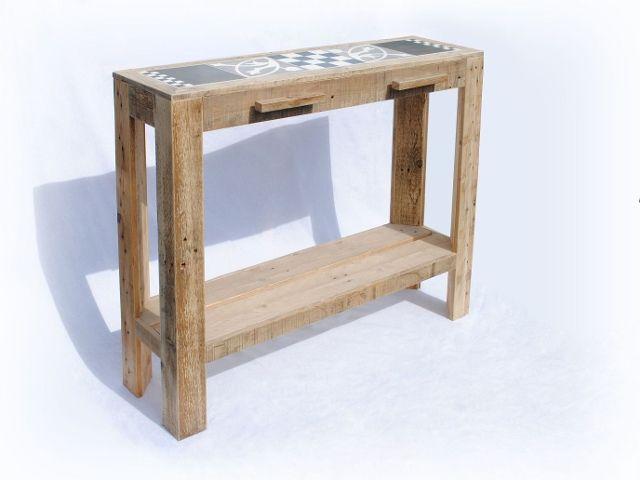 Sidetable side table side-table tafel tafeltje haltafel haltafeltje keukentafeltje werkbank portugees portugese pallethout pallets sloophout kroonwerk | webshop GGz Centraal