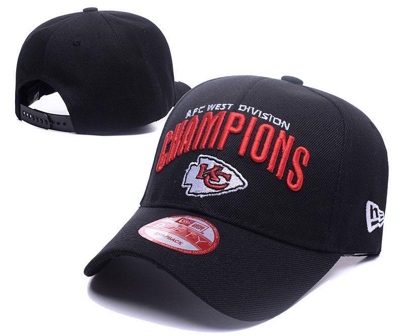 Men s   Women s Kansas City Chiefs 2016 AFC West Division Championship  Baseball Adjustable Hat - Black 3578224dc