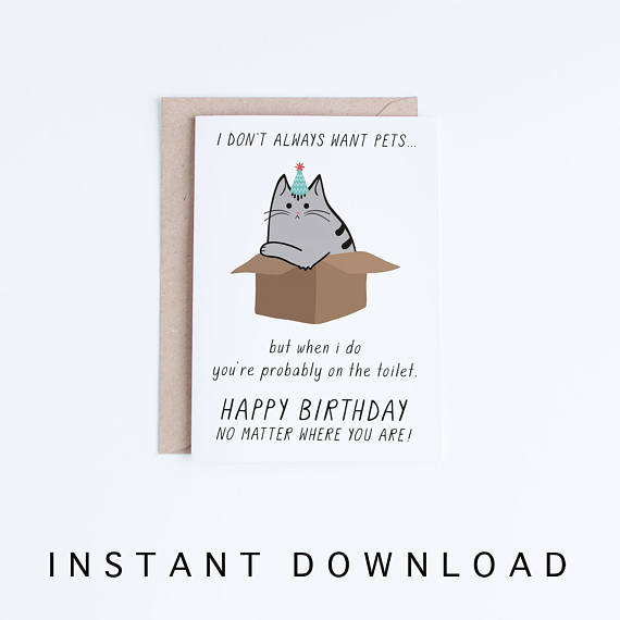Funny Birthday Cards Instant Download Printable Birthday Etsy Birthday Cards For Friends Funny Birthday Cards Birthday Card Printable