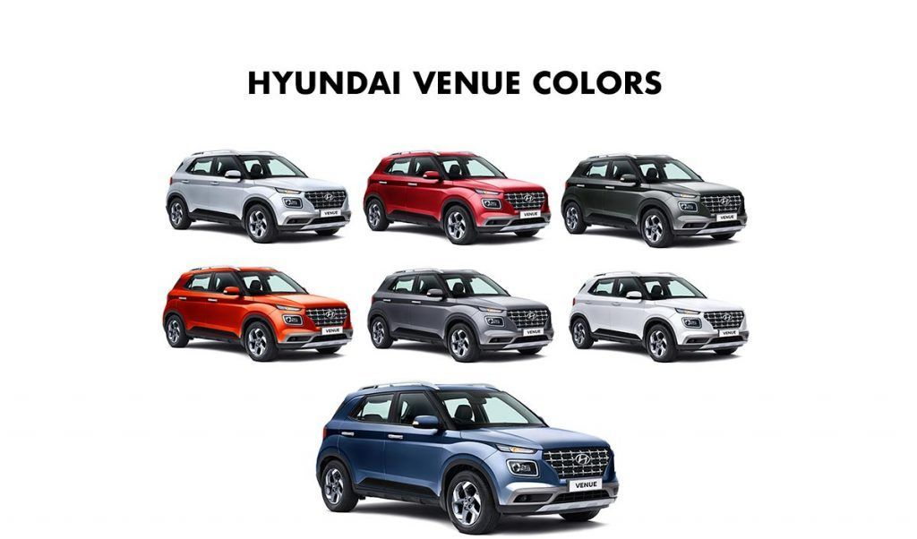 Hyundai Venue Colors Red White Silver Blue Orange Stardust