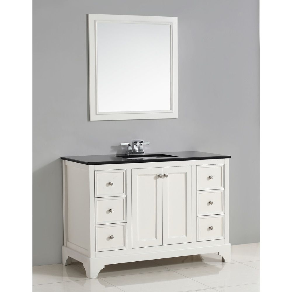 WYNDENHALL Carlyle 48-inch White Bath Vanity With Black Granite