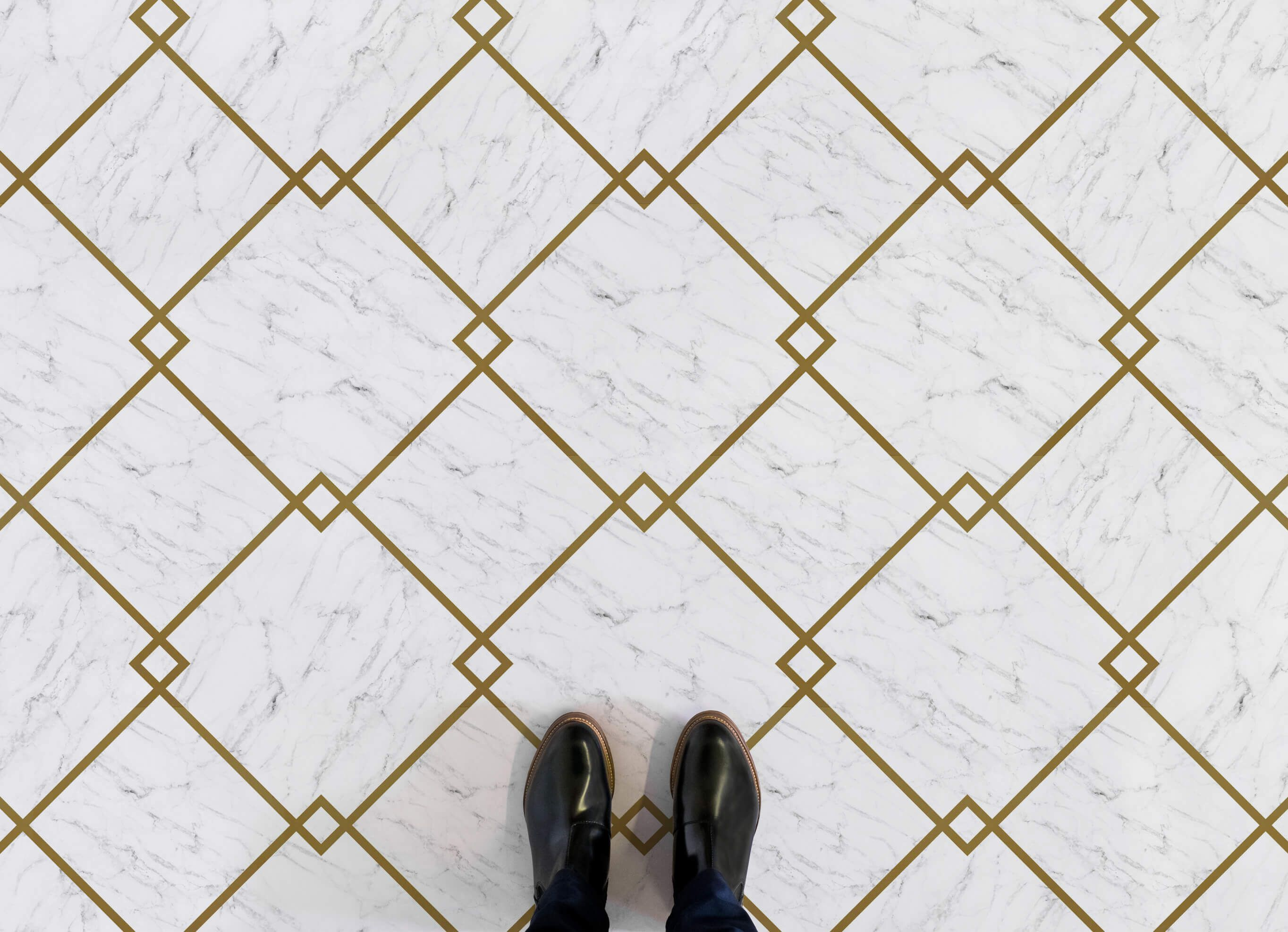 Fitzgerald Is Our Diamond Tile Marble Vinyl Flooring That Art Deco Inspired With Gold Lined Tiles And A Sophisticated White Effect Design