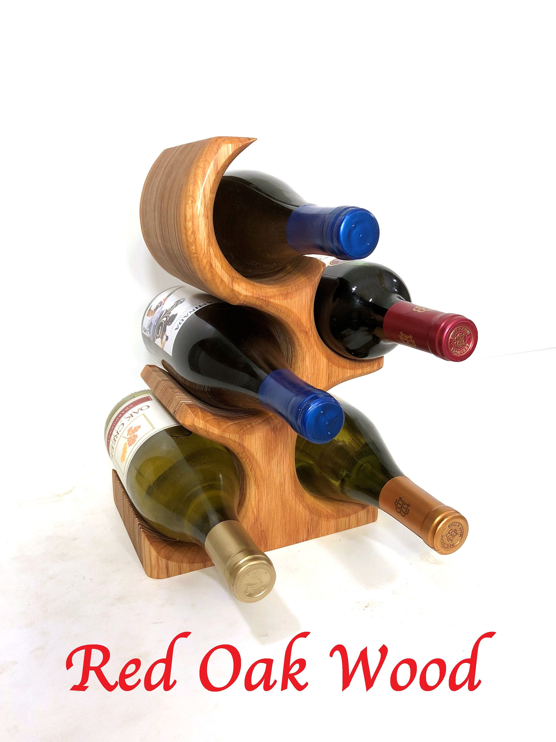 Tabletop Wood Wine Rack 5 Bottle Standing Wine Rack Countertop