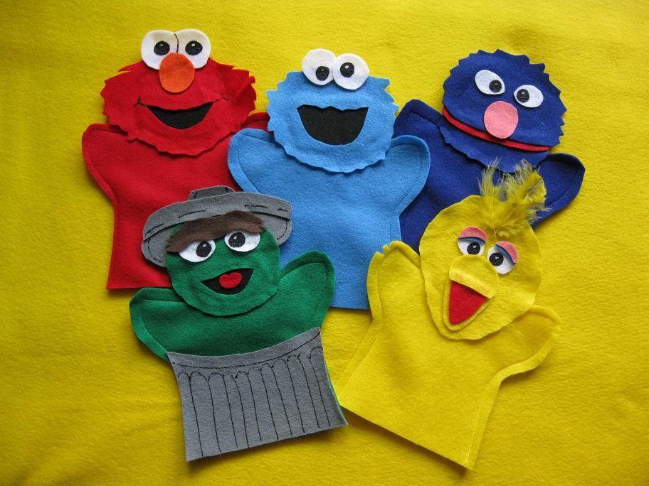 Sesame Street felt hand puppets.  via Etsy.