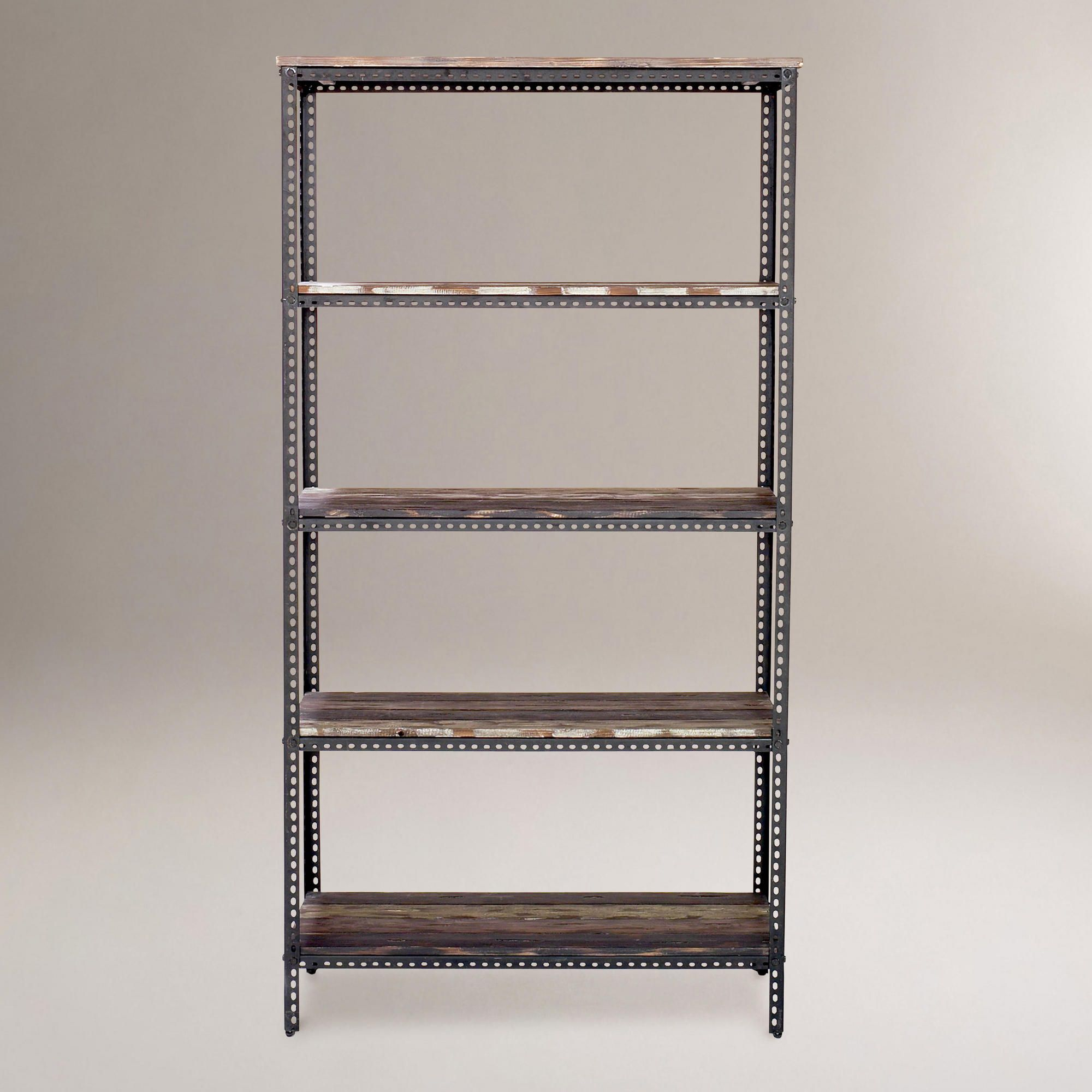 Industrial metal shelf using L-angled steel and salvaged wood.