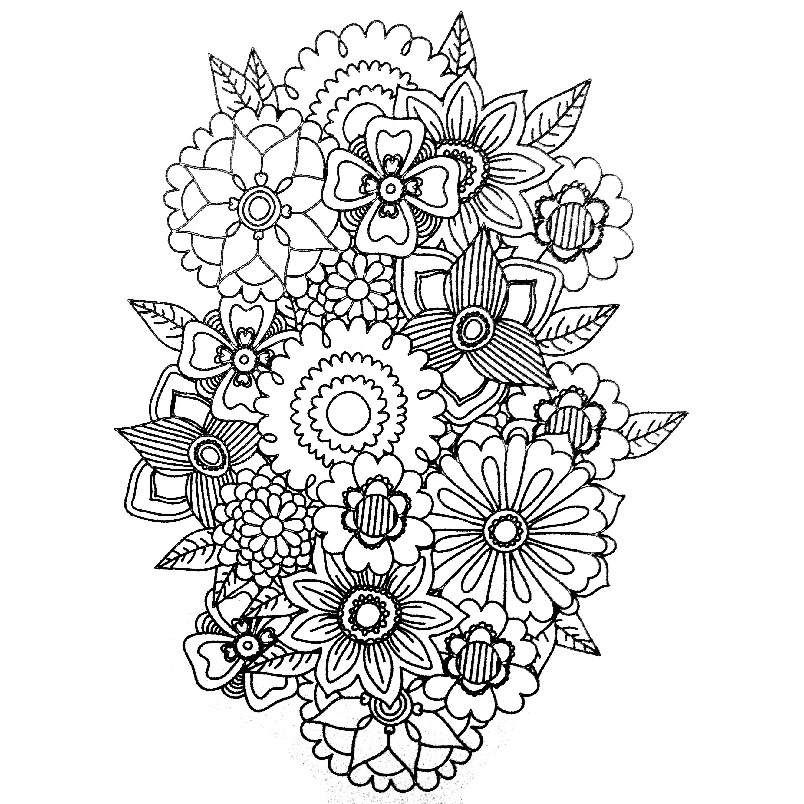 Colors of Nature Adult Colouring Book Flowers Cool
