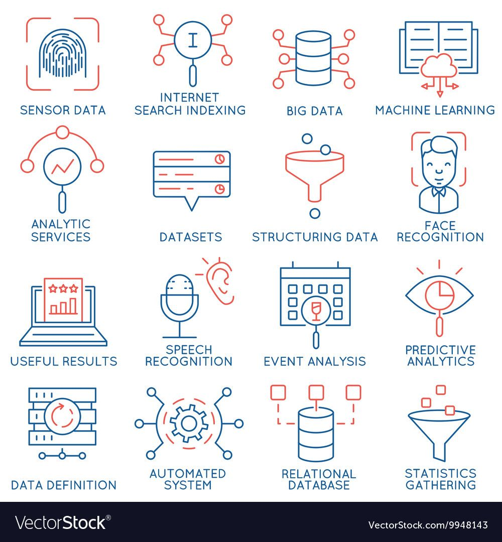 Data management analytic service icons 1 Vector Image ,
