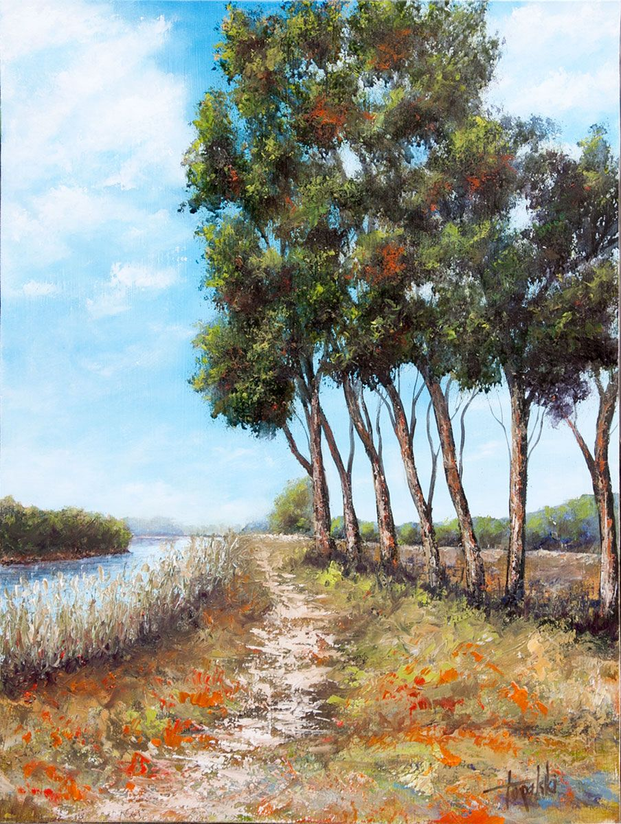 Watercolor artists names - Painter Artist Names Fine Art Oil Paintings By The River Oil Painting