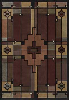 Terra Cotta Multi Arts And Crafts Style Area Rug