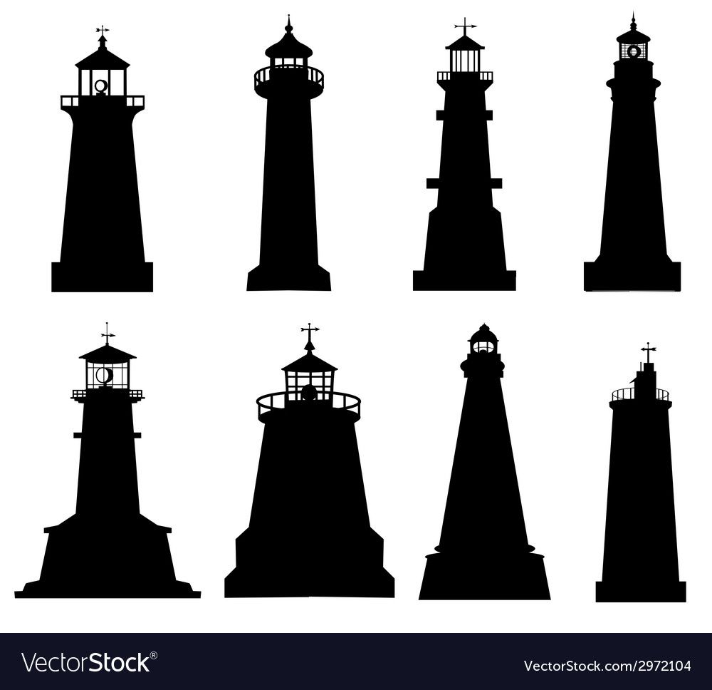 Lighthouse Silhouette Set Royalty Free Vector Image Affiliate Set Silhouette Lighthouse Ro Silhouette Painting Silhouette Vector Lighthouse Painting