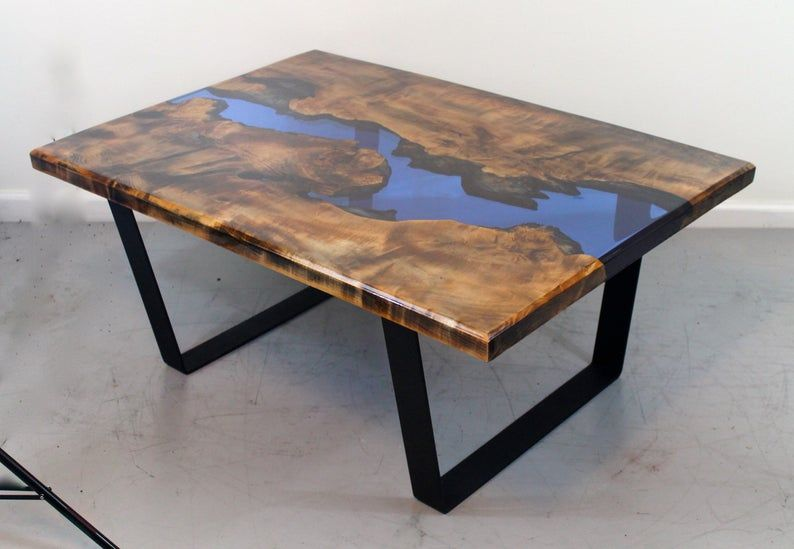 Ebonized maple resin river coffee tables etsy in 2020