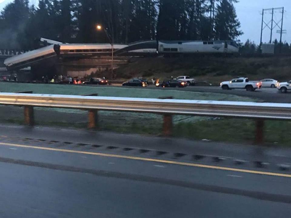 An Amtrak train derailed south of Washington