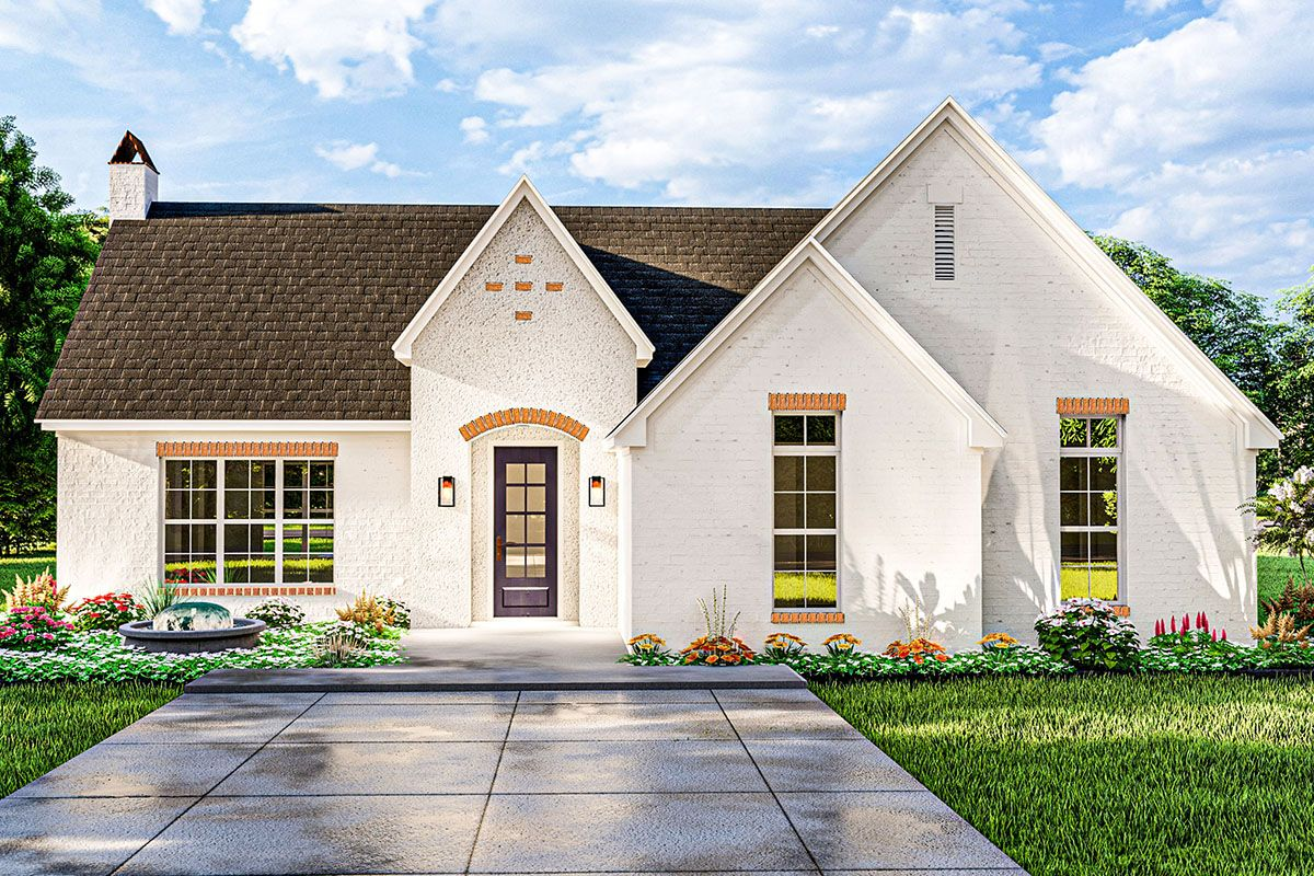 Plan 62157v Darling French Country Cottage With Vaulted Ceiling In 2021 Cottage Style House Plans Country Style House Plans Cottage House Plans