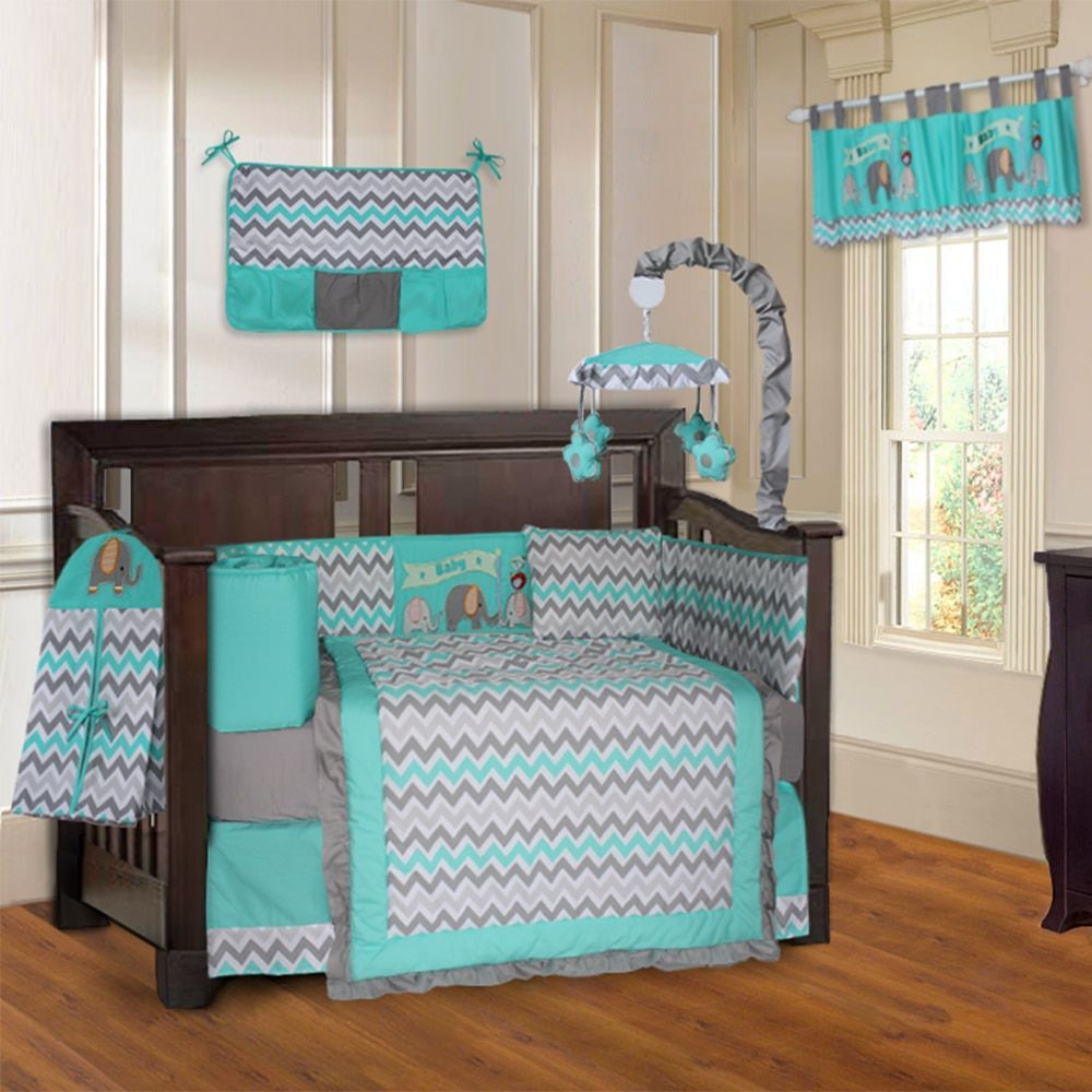 BabyFad Elephant Zig-Zag Turquoise and Grey 10-Piece Baby Crib ...