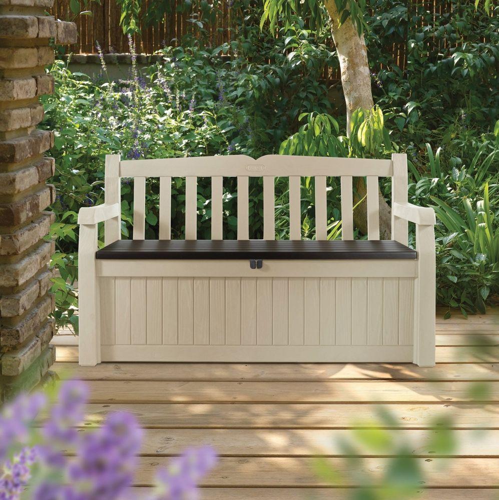 Garden Bench 70 Gallon Deck Outdoor Storage Decorative Patio Box Pool  Seating #Keter