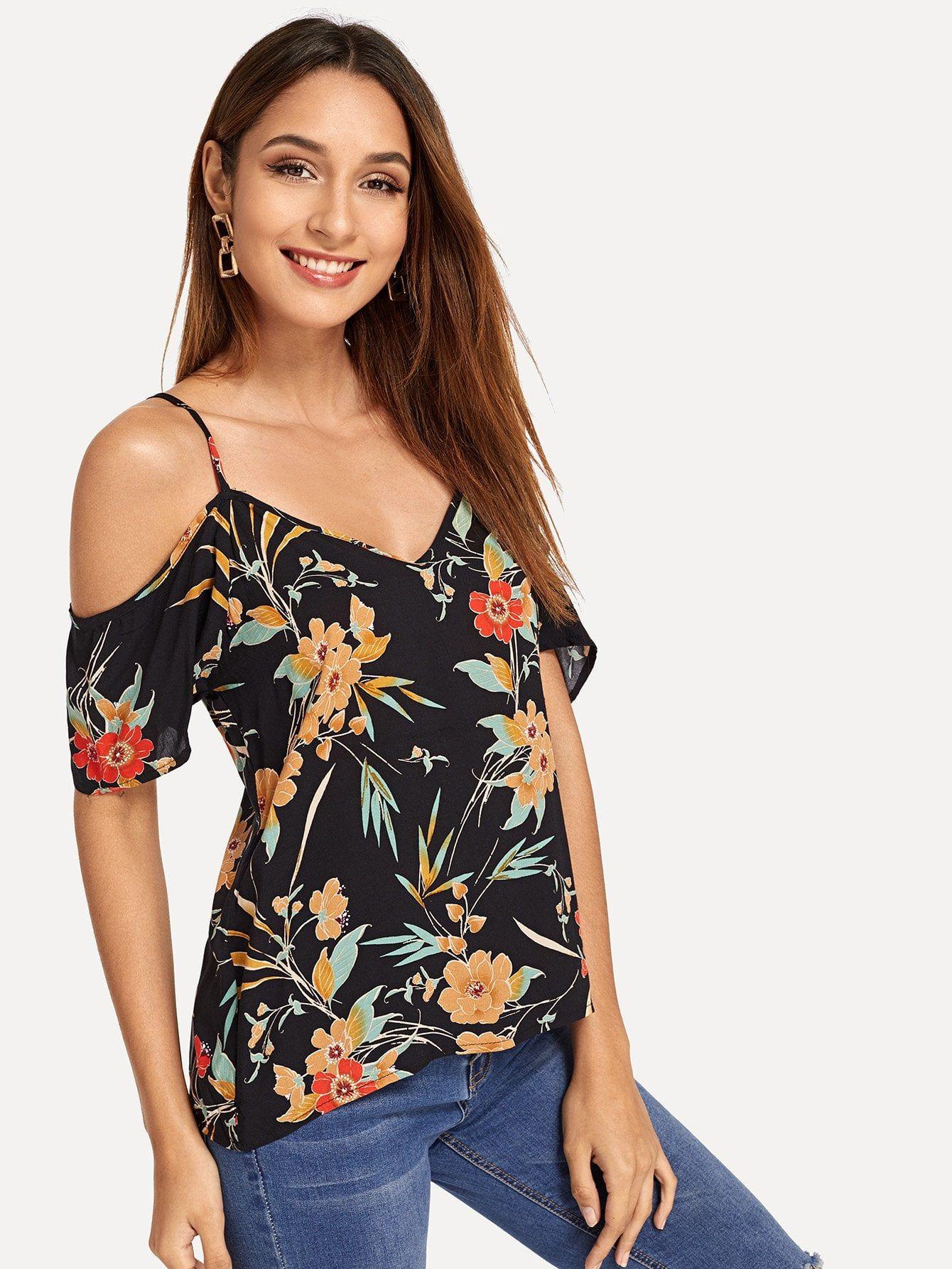 f8fa810589b850 Boho Cold Shoulder Floral Top Regular Fit V Neck and Spaghetti Strap Short Sleeve  Regular Sleeve Pullovers Multicolor Regular Length Cold Shoulder Floral ...