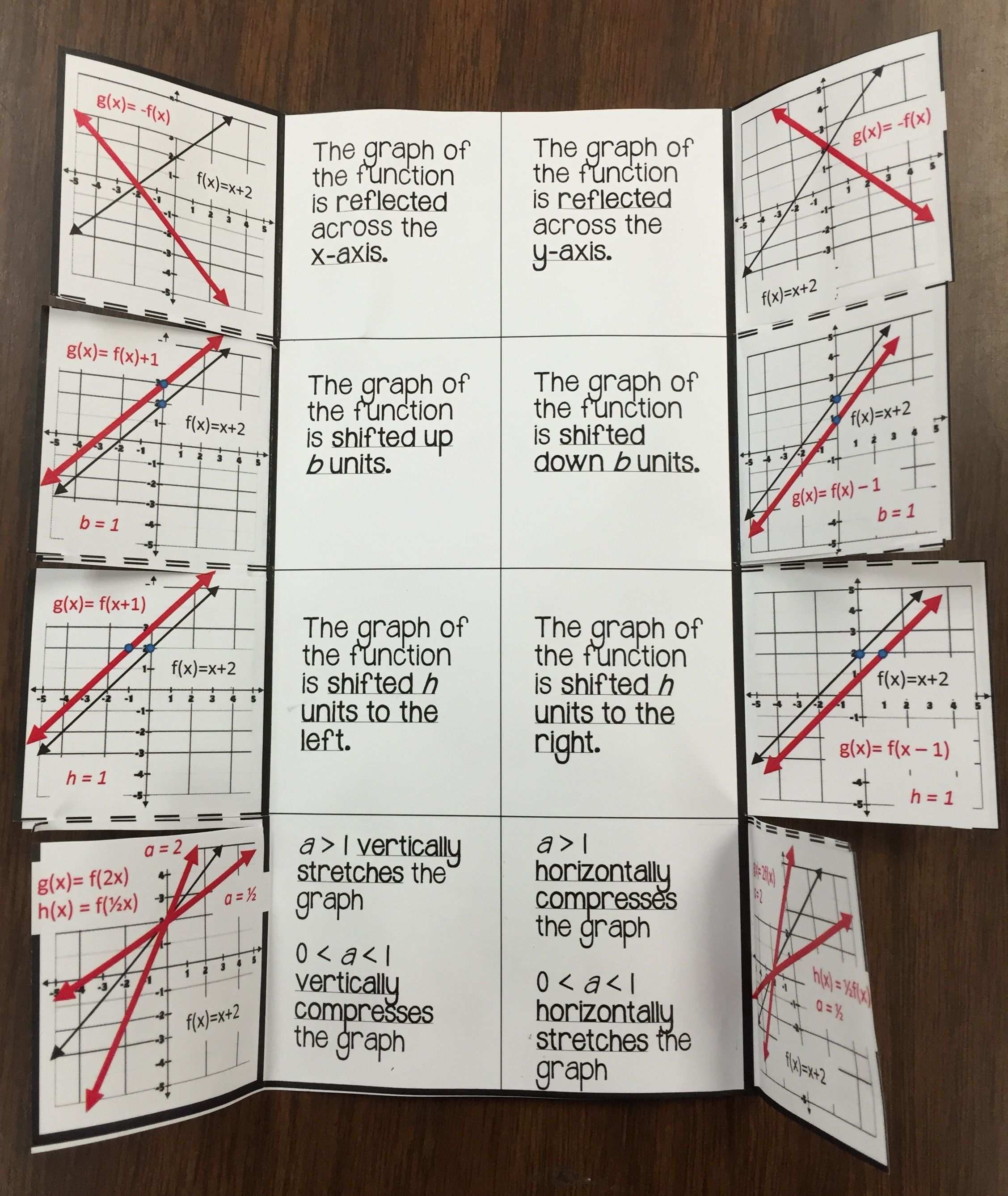 Graphing Linear Function Transformations Foldable