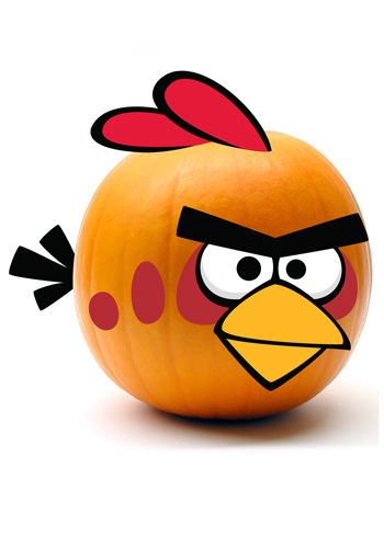 Red Angry Birds pumpkin decoration kit