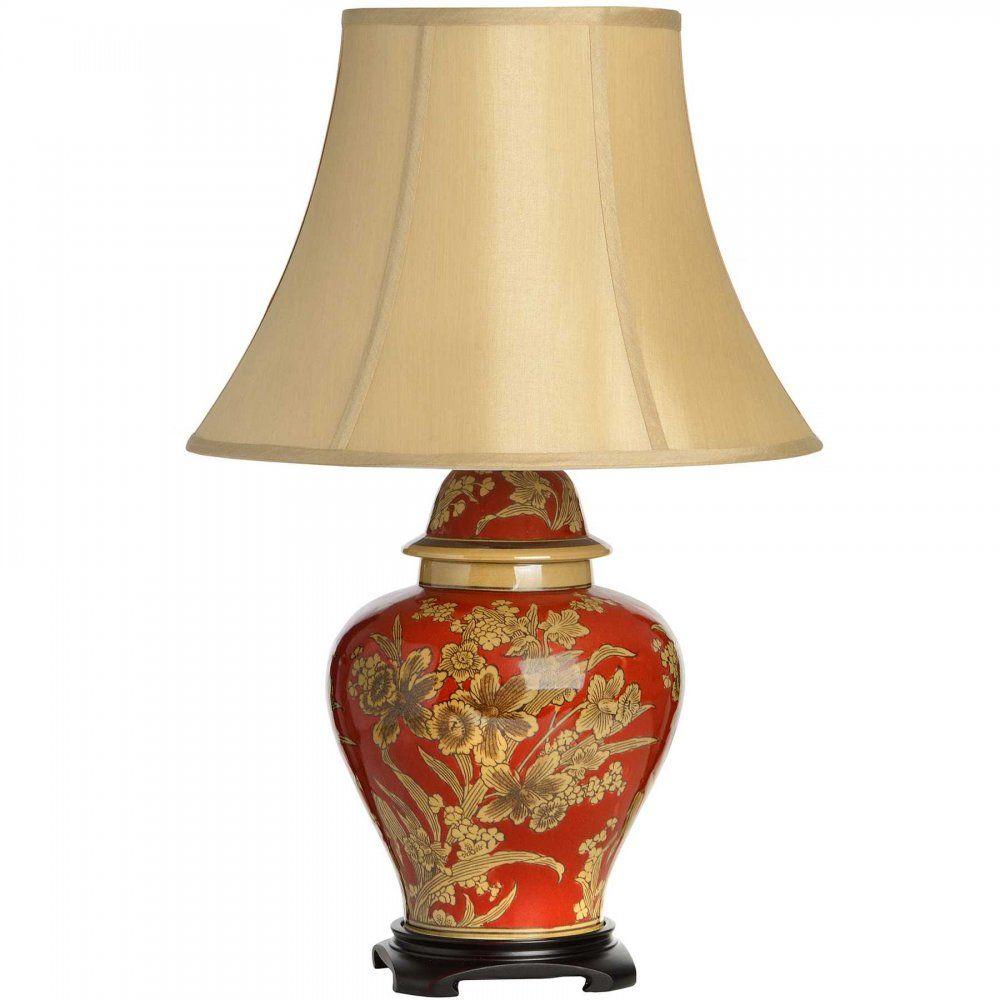 Asteria Burnt Orange Ceramic Lamp With Silk Shade Ceramic Table
