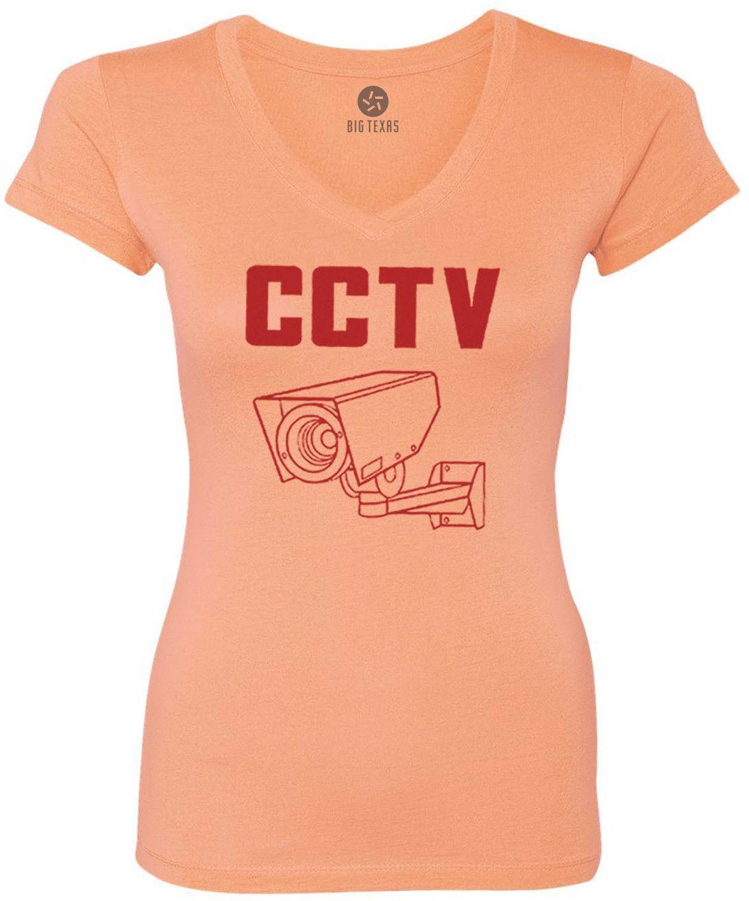 CCTV (Red) Women's Short-Sleeve V-Neck T-Shirt