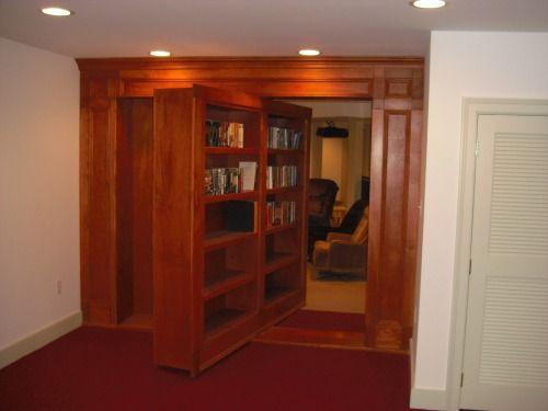 Rotating Bookshelf Door To Secret Room