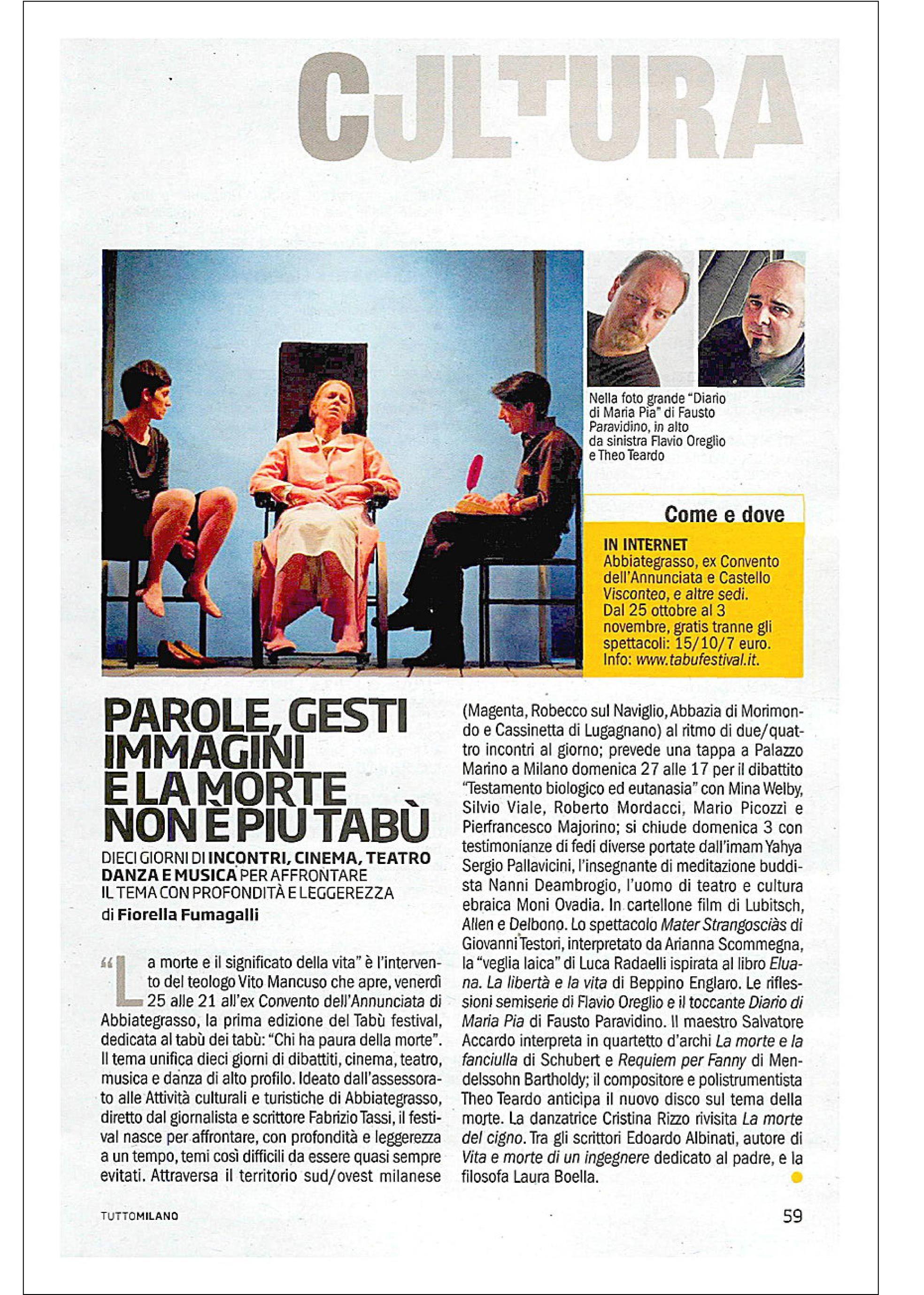 Tutto Milano -- Repubblica Tabù Festival press release